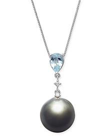 "Cultured Baroque Black Tahitian Pearl (12mm), Aquamarine (5/8 ct. t.w.) & Diamond Accent 18"" Pendant Necklace in 14k White Gold"