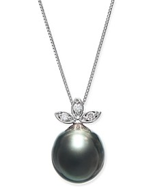 """Cultured Baroque Black Tahitian Pearl (10mm) & Diamond (1/20 ct. t.w.) 18"""" Pendant Necklace in 14k White Gold"""