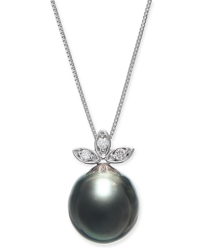 """Macy's - Cultured Baroque Black Tahitian Pearl (10mm) & Diamond (1/20 ct. t.w.) 18"""" Pendant Necklace in 14k White Gold"""