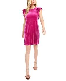 Velvet Ruffle-Sleeve Dress, Created For Macy's