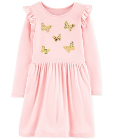 Little & Big Girls Sequin-Butterflies Jersey Dress