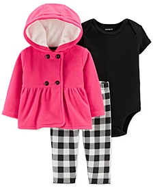 Baby Girls 3-Pc. Hooded Cardigan, Bodysuit & Printed Pants Set