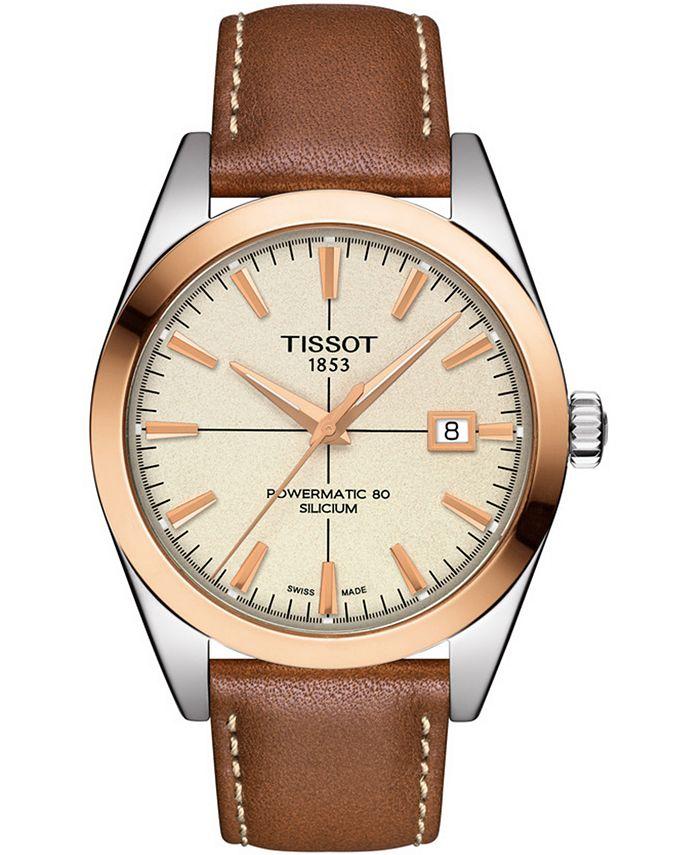 Tissot - Men's Swiss Automatic Gentleman Brown Leather Strap Watch 40mm