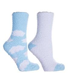 Women's Soft Fuzzy Cloud Slipper Socks, 2 Pairs