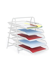 5 Tier Mesh Paper File Tray, Desk Organizer with 5 Sliding Trays