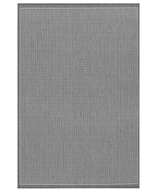 "CLOSEOUT! Couristan Area Rug, Indoor/Outdoor Recife 1001/3012 Saddle Stitch Grey-White 5'3"" x 7'6"""
