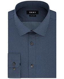 Men's Slim-Fit Performance Stretch Jaspé Geometric Dress Shirt