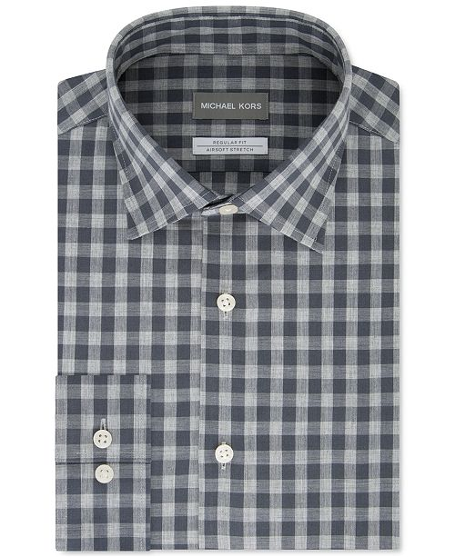 Michael Kors Men's Classic/Regular-Fit Non-Iron Airsoft Performance Stretch Check Dress Shirt