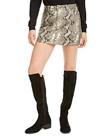 Faux-Leather Snake-Print Mini Skirt