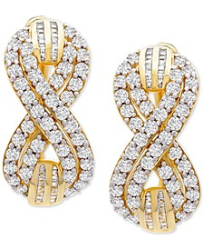 "Diamond Infinity Small Hoop Earrings (2 ct. t.w.) in Gold-Plated Sterling Silver, 0.95"", Created for Macy's"