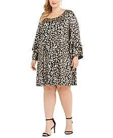 Plus Size Metallic Cheetah Print Dress
