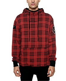 Men's The Red Hood Colorblocked Houndstooth Plaid Patch Hoodie