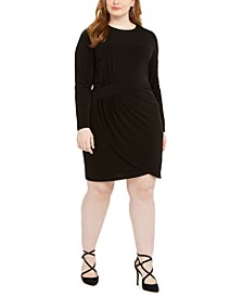Plus Size Stretch Faux-Wrap Dress
