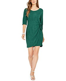 Petite Glitter Faux-Wrap Dress