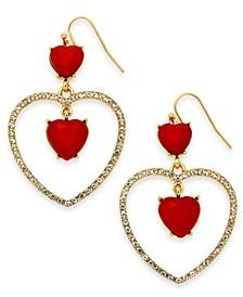 Gold-Tone Pavé & Heart Stone Drop Earrings, Created For Macy's