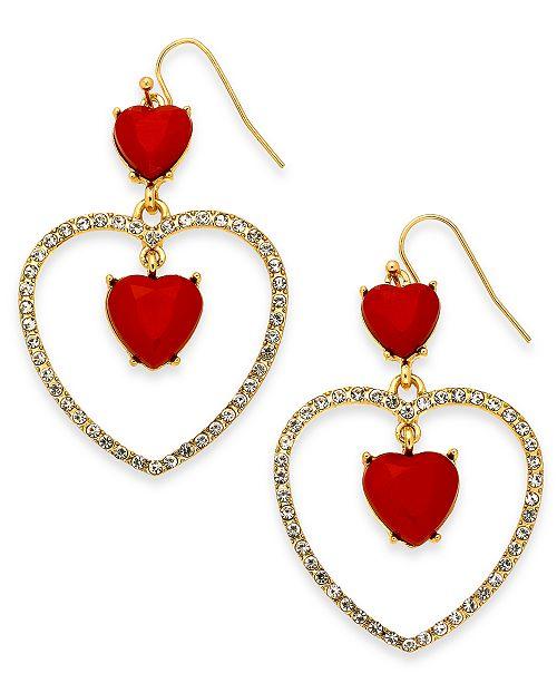 Thalia Sodi Gold-Tone Pavé & Heart Stone Drop Earrings, Created For Macy's