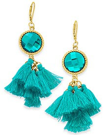 INC Gold-Tone Stone & Tassel Drop Earrings, Created For Macy's