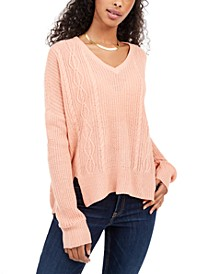 Juniors' V-Neck Cable-Knit Sweater
