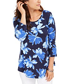 3/4-Sleeve Floral-Print T-Shirt, Created For Macy's