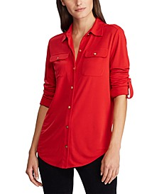 Roll-Tab-Sleeve Button-Front Shirt
