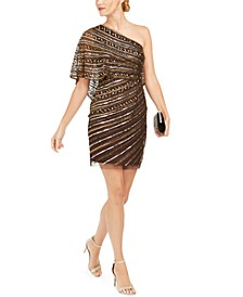 Sequined One-Shoulder Sheath Dress