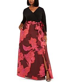 Plus Size Floral-Print Gown