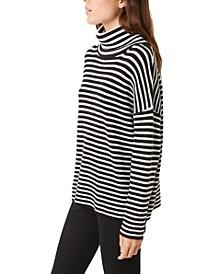 Striped Micro-Rib Roll-Neck Sweater