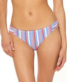 Miami Stripe Printed Shirred Hipster Bikini Bottoms