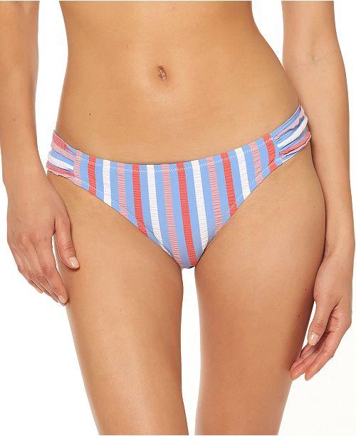 Jessica Simpson Miami Stripe Printed Shirred Hipster Bikini Bottoms