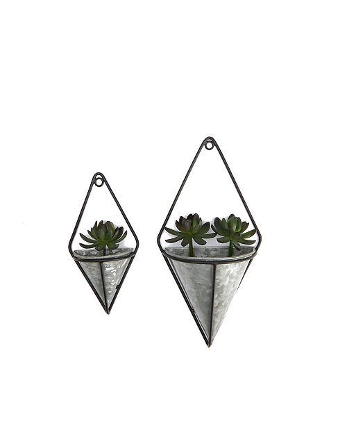Mind Reader 2 Pack Galvanized Hanging Wall Planter Set