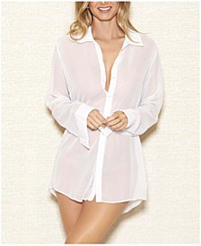 London Chiffon Button Down Boyfriend Sleep Shirt