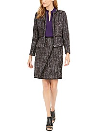 Tweed Zip-Up Jacket, Pleated Ruffle Blouse And Faux-Wrap Skirt
