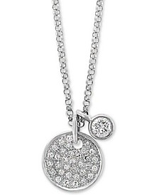 "EFFY® Diamond Cluster Disc & Bezel 18"" Pendant Necklace (1/4 ct. t.w.) in 14k White Gold"