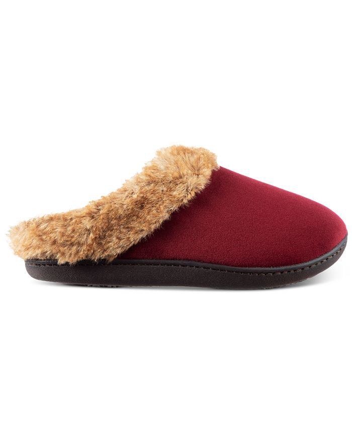 Isotoner Signature - Women's Boxed Velour Holdback Slippers With Faux-Fur Trim
