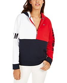 Colorblocked Half-Zip Hoodie Sweatshirt