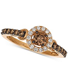 Chocolatier® Diamond Halo Ring (5/8 ct. t.w.) in 14k Rose Gold