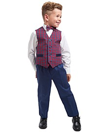 Little Boys Regular-Fit 4-Pc. Blue Tartan Vest Set