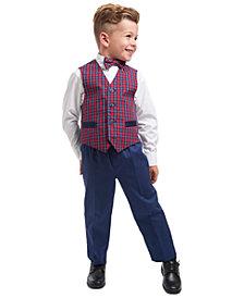 Nautica Little Boys Regular-Fit 4-Pc. Blue Tartan Vest Set