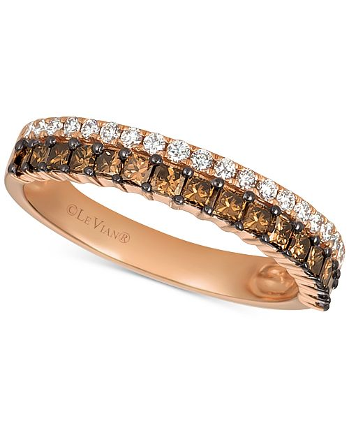Le Vian Chocolatier® Diamond Princess Double Row Band (5/8 ct. t.w.) in 14k Rose Gold
