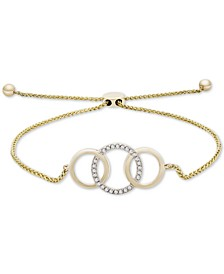 Diamond Triple Ring Bolo Bracelet (1/10 ct. t.w.) in 14k Gold, Created for Macy's