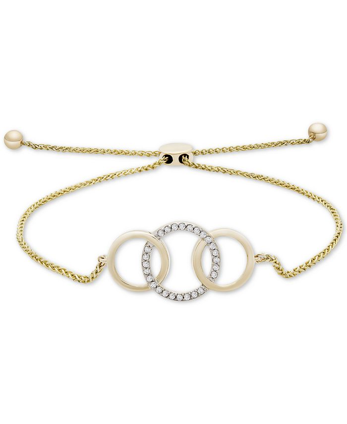 Wrapped - Diamond Triple Ring Bolo Bracelet (1/10 ct. t.w.) in 14k Gold