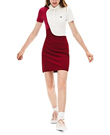 Short Sleeve Cotton Color Block Polo Dress