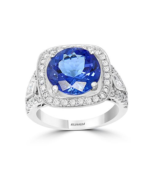 EFFY Collection EFFY® HEMATIAN Tanzanite (4-5/8 ct.t.w.) & Diamond (1 ct.t.w.) Ring in 18k White Gold