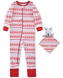 Baby Girls 2-Pc. Fair-Isle-Print Pajama & Deer Blankie Baby Set