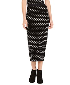 Polka Dot Knit Maxi Skirt