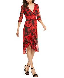 Flowing Overlay Faux Wrap Dress