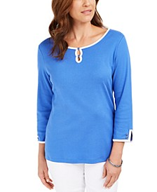 Contrast-Trim Cotton Top, Created For Macy's