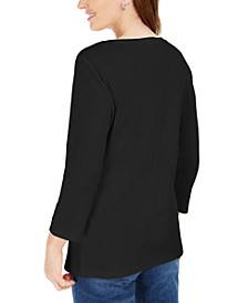 Cotton Henley-Neck Top, Created for Macy's
