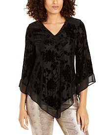Velvet Burnout Bell-Sleeve Asymmetric Top, Created For Macy's