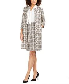 Tweed Long Topper Jacket, Sleeveless Tie-Front Top and Tweed Pencil Skirt